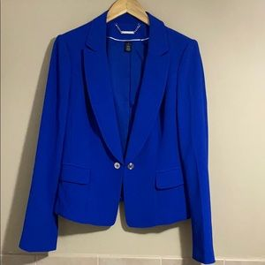 NEW White House Black Market Blazer Blue Peplum 12